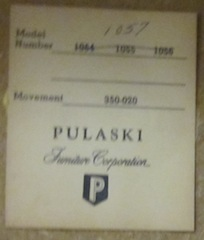 Pulaski clock number is 1057  and serial  1015